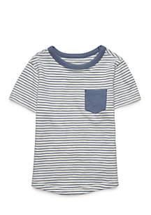 Toddler Boys Short Sleeve Curved Hem Tee