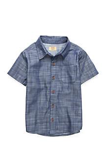 Toddler Boys 1 Pocket Short Sleeve Woven Shirt