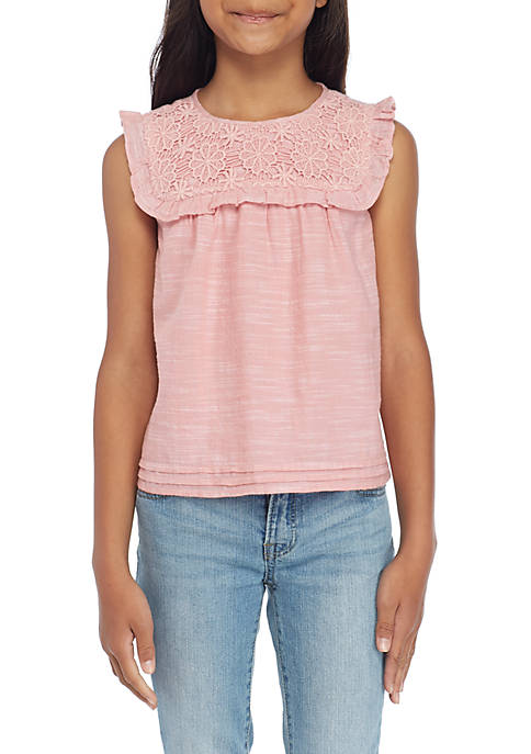 TRUE CRAFT Toddler Girls Lace Yoke Woven Top