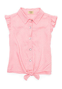 Toddler Girls 4-6x Tie Front Woven Top