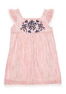 Toddler Girls Woven Pom Pom Dress