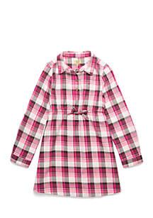 Toddler Girls Rolled Cuff Shirt Dress