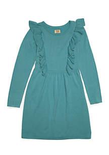 Long Sleeve Flutter Dress