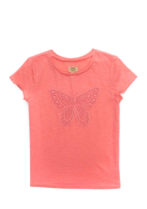 TRUE CRAFT Toddler Girls Short Sleeve Lettuce Edge