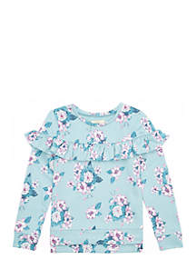 Toddler Girls Long Sleeve Ruffle Shoulder Top