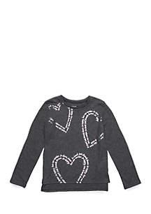 TRUE CRAFT Toddler Girls Long Sleeve Foil Heart Tee
