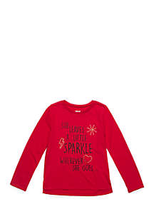 Toddler Girls Long Sleeve Sparkle Tee