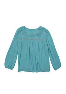 Toddler Girls Long Sleeve Embellished Yoke Top