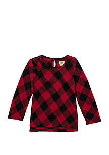 Toddler Girls Long Sleeve Bow Plaid Top