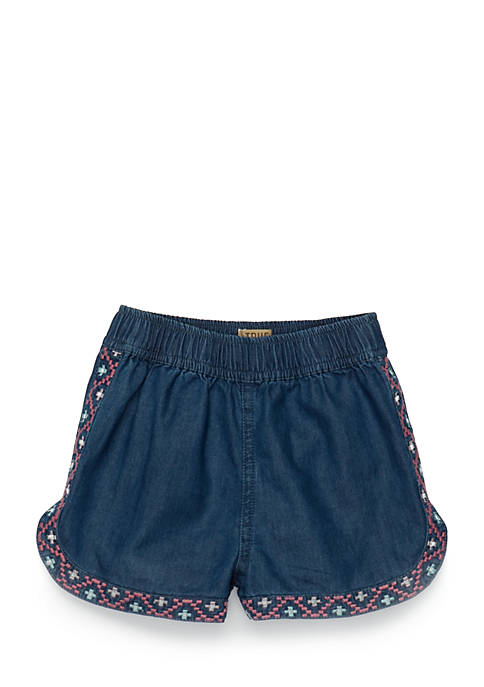 TRUE CRAFT Girls Infant Chambray Embroidered Shorts