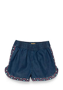 Girls Infant Chambray Embroidered Shorts