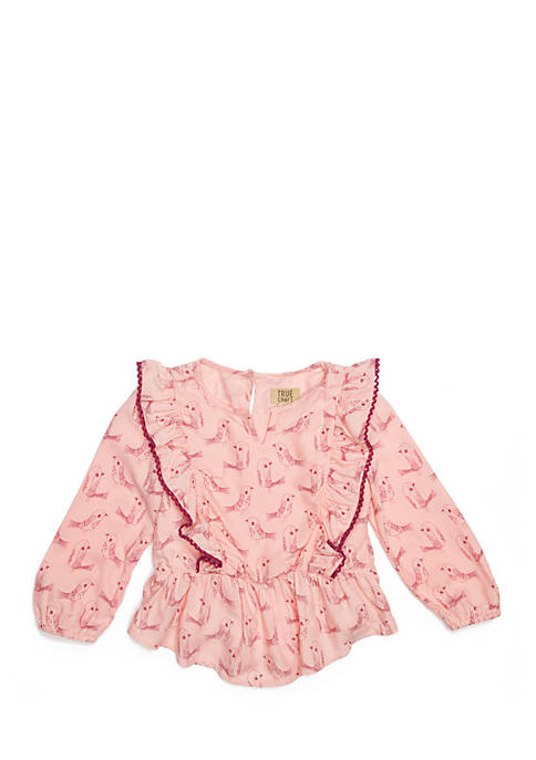 TRUE CRAFT Infant Girls Flutter Sleeve Peplum Top