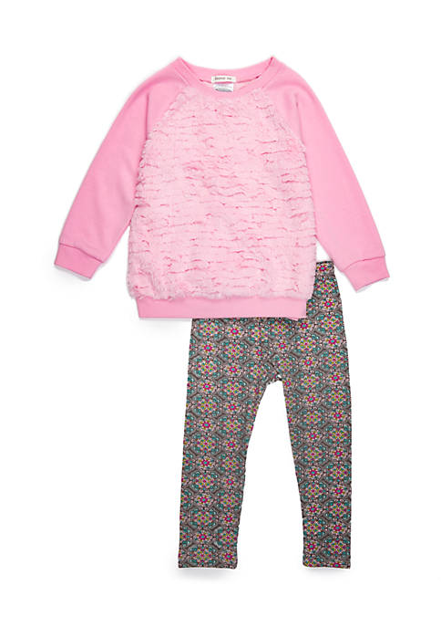 Forever Me Toddler Girls Pink Textured Fur Legging