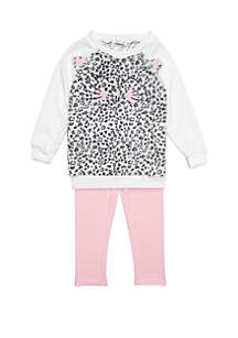 Toddler Girls Cat Leopard Print Woobie Set