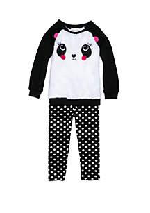 Self Esteem Toddler Girls Panda Face Dot Woobie Set