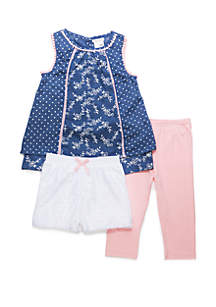 Forever Me Toddler Girls 3 Piece Twin Printed Woven Lace Short and Capri Set