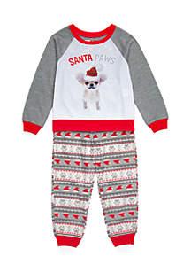 Toddler Girls Santa Paws Pajama Set