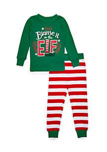 Toddler Girls Blame It On The Elf Pajama Set