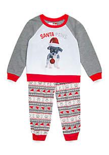 Toddler Boys Santa Paws Pajama Set