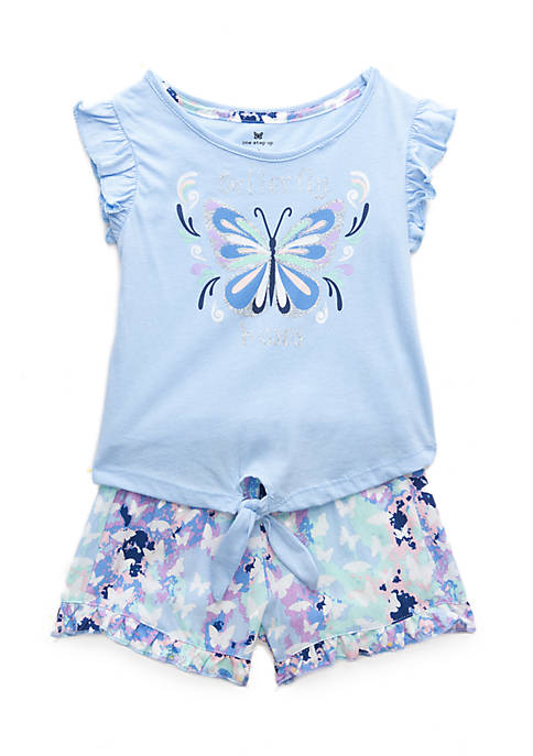 One Step Up Toddler Girls Butterfly Tie Shirt