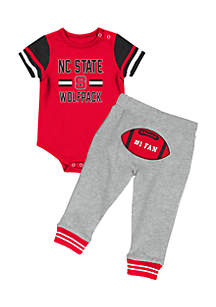 NC State Wolfpack Infant Boys Football Onesie Pant Set