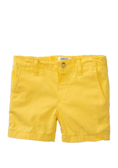 Crown & Ivy™ Toddler Boys Twill Yellow Shorts
