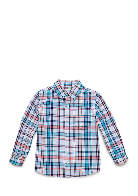 Crown & Ivy™ Woven Plaid Button Front Shirt