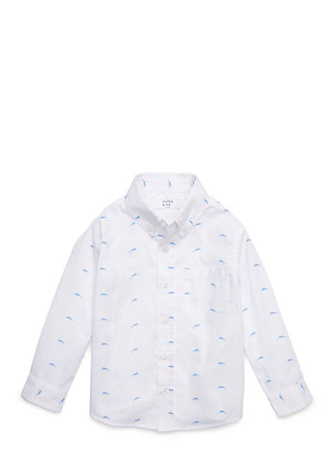 Crown & Ivy™ Printed Woven Button Front Shirt