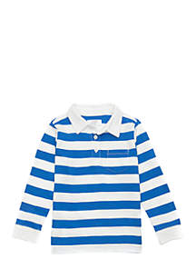 Toddler Boys Long Sleeve Stripe Polo Shirt