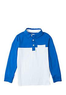 Crown & Ivy™ Toddler Boys Long Sleeve Yoke Pocket Polo