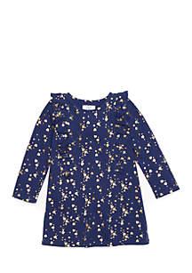 Toddler Girls Long Sleeve Ruffle Front Dress