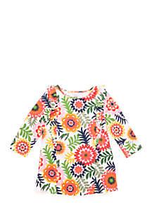 Toddler Girls Long Sleeve Ruffle Front Knit Dress