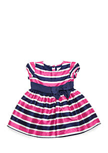 Toddler Girls Short Sleeve Stripe Party Dress
