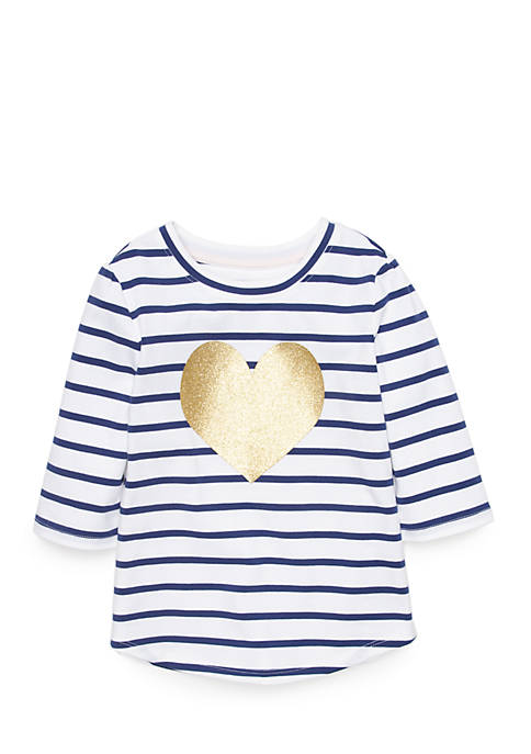 Crown & Ivy™ Toddler Girls Three-Quarter Sleeve Tee