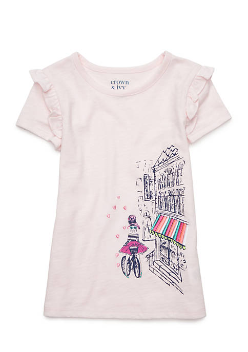 Crown & Ivy™ Girls 2-4 Ruffle Shoulder Tee