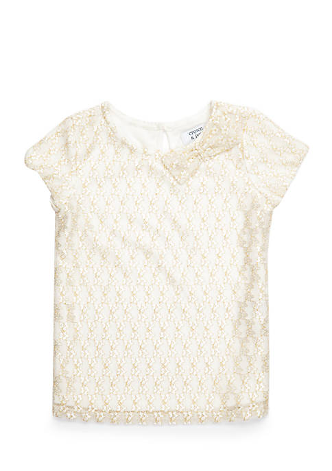 Crown & Ivy™ Toddler Girls Short Sleeve Lace