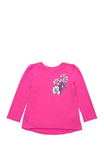 Toddler Girls Pink Tee with Shoulder Flower