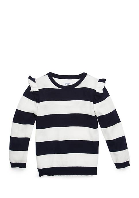 Crown & Ivy™ Toddler Girls Flutter Sleeve Sweater