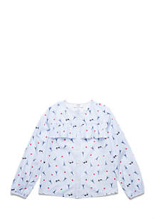 Crown & Ivy™ Girls 4-6x Ruffle Button-Up Top