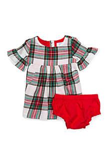 Baby Girls Woven Ruffle Dress 2-Piece Set