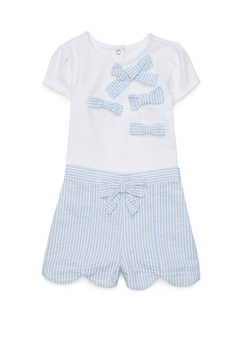 Crown & Ivy™ Baby Girls Scalloped Shorts Set