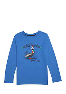 Toddler Boys Long Sleeve Graphic Crew Slub Tee
