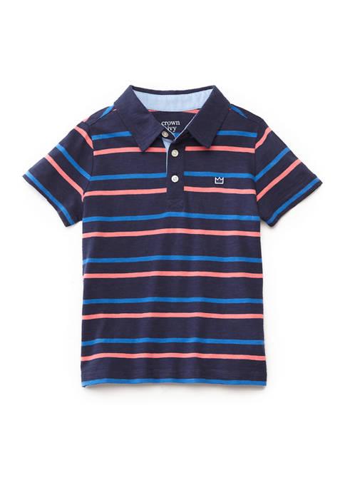 Toddler Boys Short Sleeve Print Polo Shirt