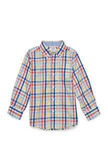 Toddler Boys Pocket Long Sleeve Woven Shirt