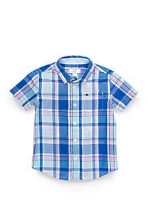 Crown & Ivy™ Toddler Boys Oxford Short Sleeve Pocket Shirt