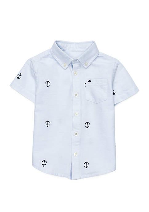 Toddler Boys Short Sleeve Pocket Oxford Shirt
