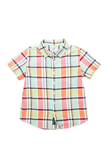 Crown & Ivy™ Toddler Boys Short Sleeve Pocket Oxford Shirt