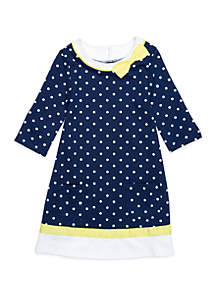 Toddler Girls Dress with Piping