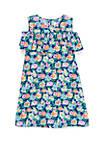 Toddler Girls Printed Cold Shoulder Dress