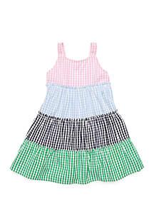 Crown & Ivy™ Toddler Girls Sleeveless Mixed Gingham Dress